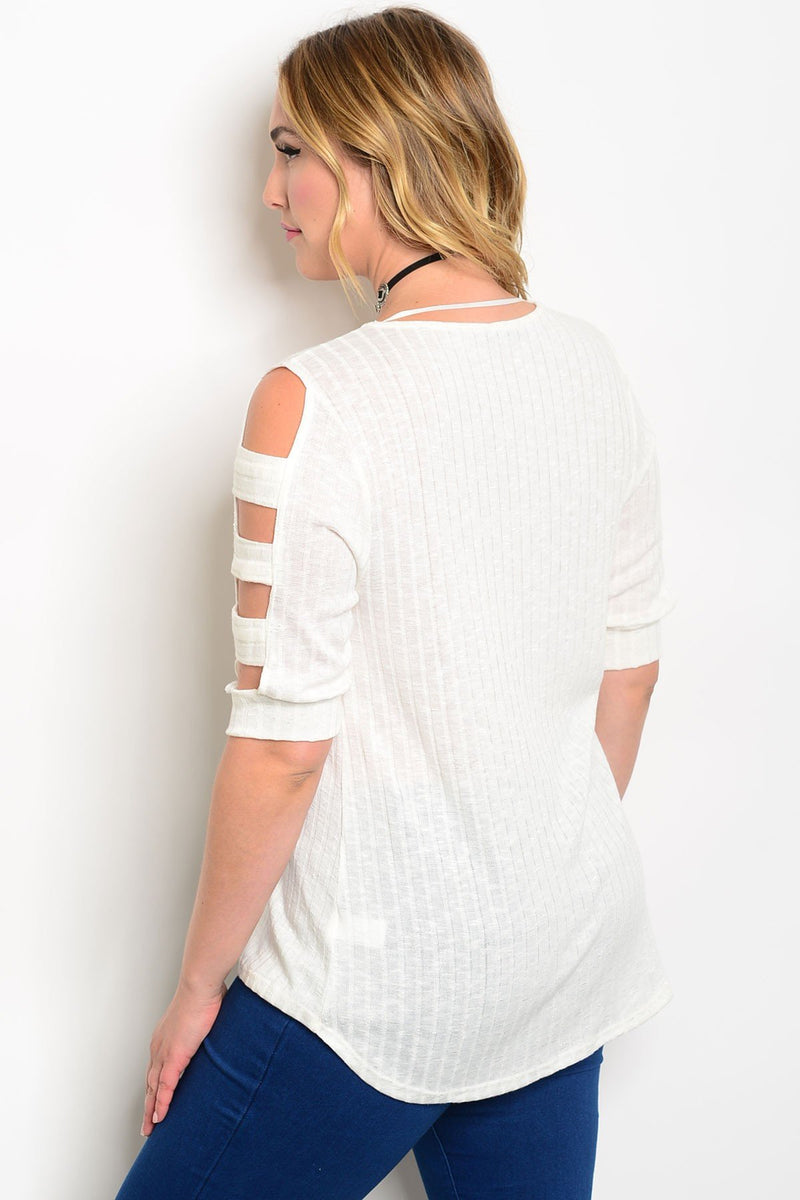Plus Size Scoop Neck 3/4 Cutout Sleeve Fitted Top - Ivory