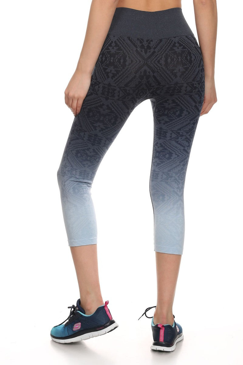 Tribal Ombre Print Cropped Leggings