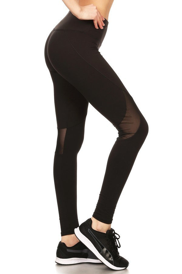 Solid Fitted Style Elastic Mesh Panels Leggings