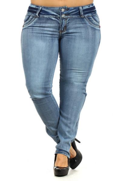 Plus Size COLOMBIAN Booty Lifter Embroidered Pockets Denim Jeans