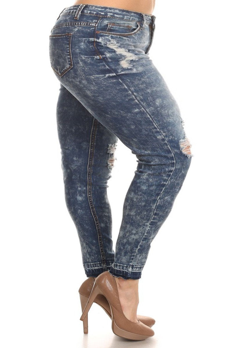 Plus Size Rocker Acid Wash Distressed Denim Jeans