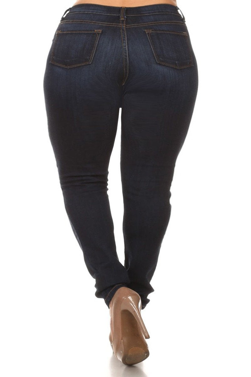 Plus Size Slashed Knee Denim Navy Blue Jeans