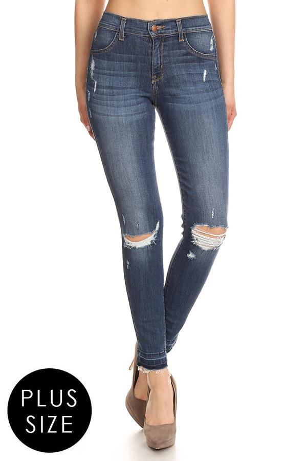 Plus Size High Rise Slashed Knee Denim Jeans