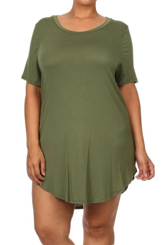 Plus Size Casual Sexy Thigh Length Round Neck Olive Top