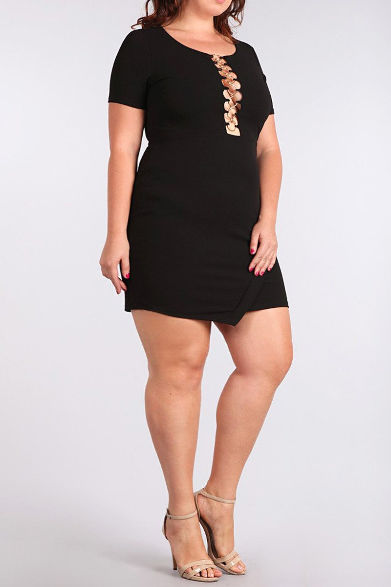 Sexy Caged O-Ring Plus Size Bodycon Dress
