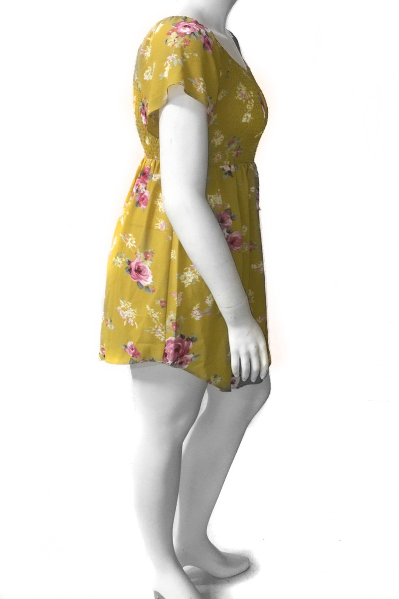 Plus Size Floral Scrunch Comfortable Dress