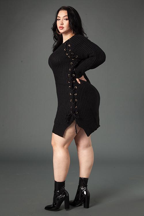 Plus Size Sexy Lace Up Sweater Dress