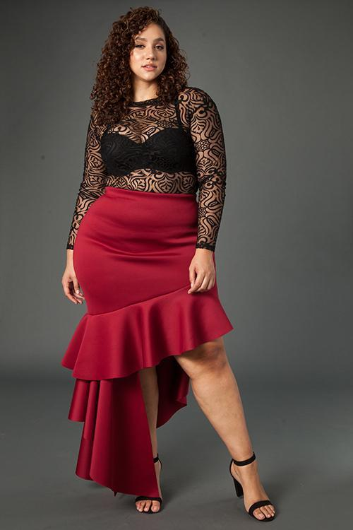 Plus Size Cascade Glam Ruffle Skirt