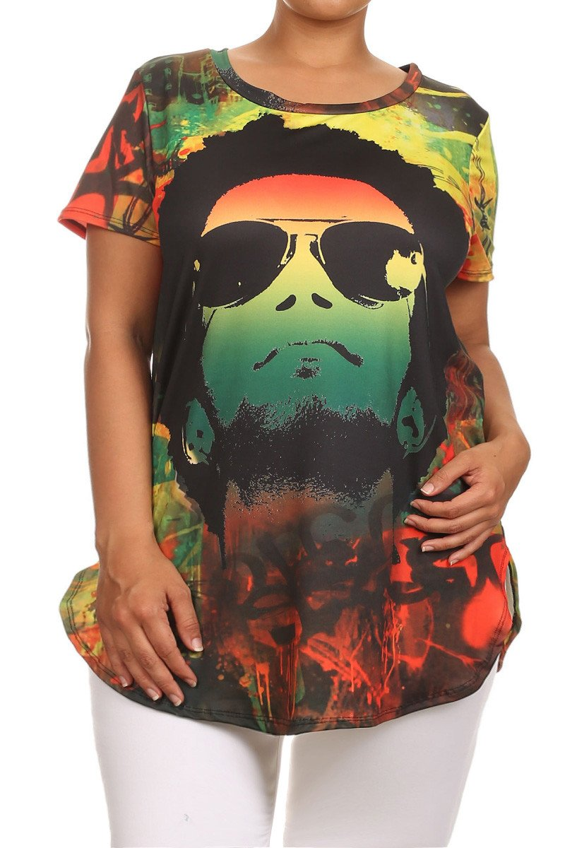 Plus Size Reggae Passion Graphic Rasta Top