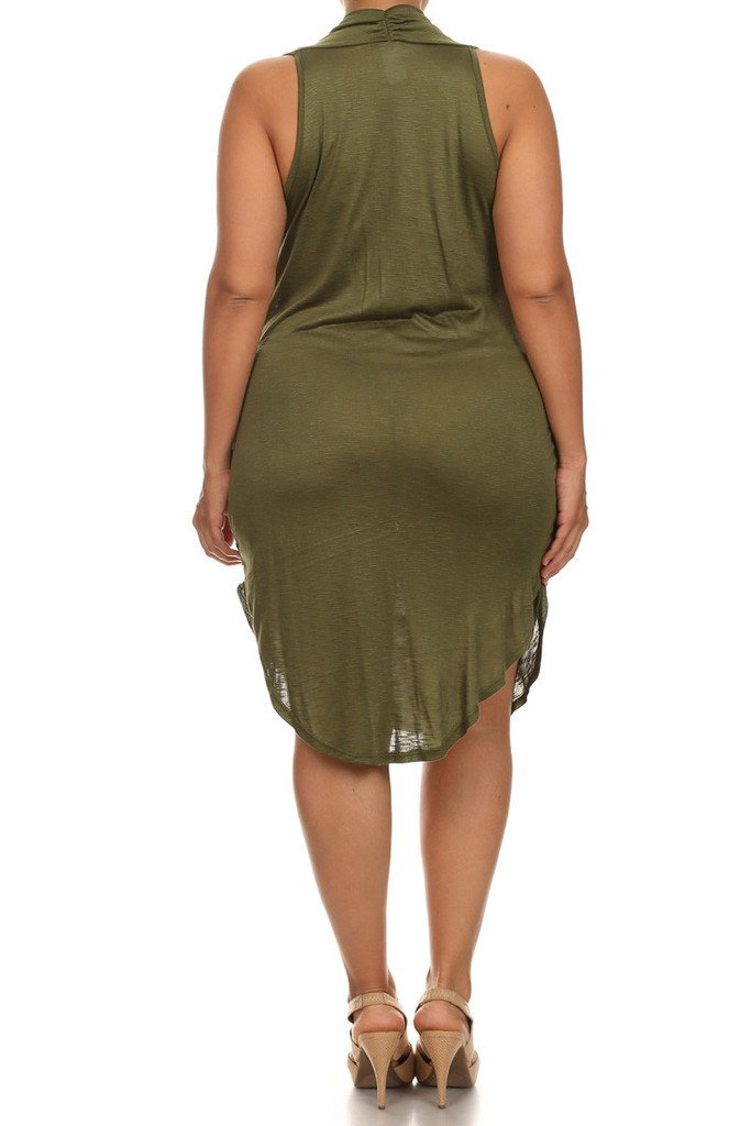 Plus Size Sleeveless Cowl Neck Crescent Hem Olive Dress