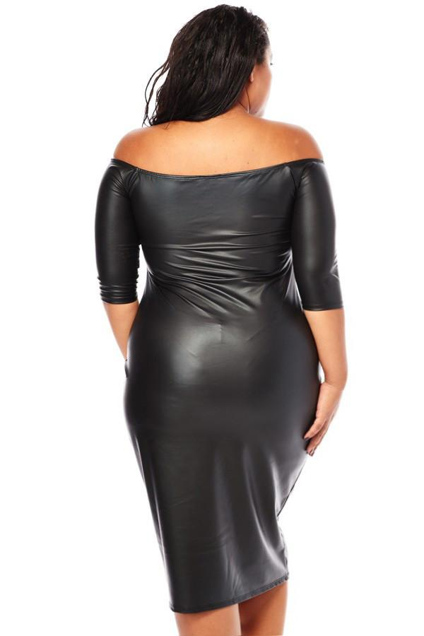 plus size sexy plunging shoulder leather dress – slayboo