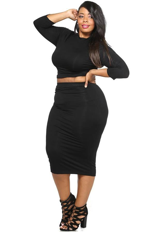 ce2ac85f8 Plus Size Solid Crop Top & Midi Skirt Set – slayboo