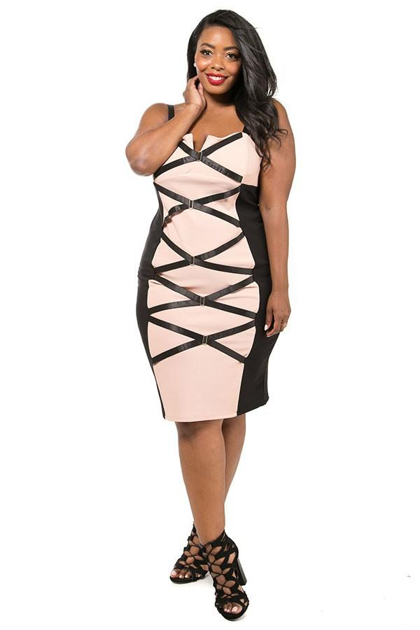 Plus Size Hot Strappy Colorblock Dress – slayboo