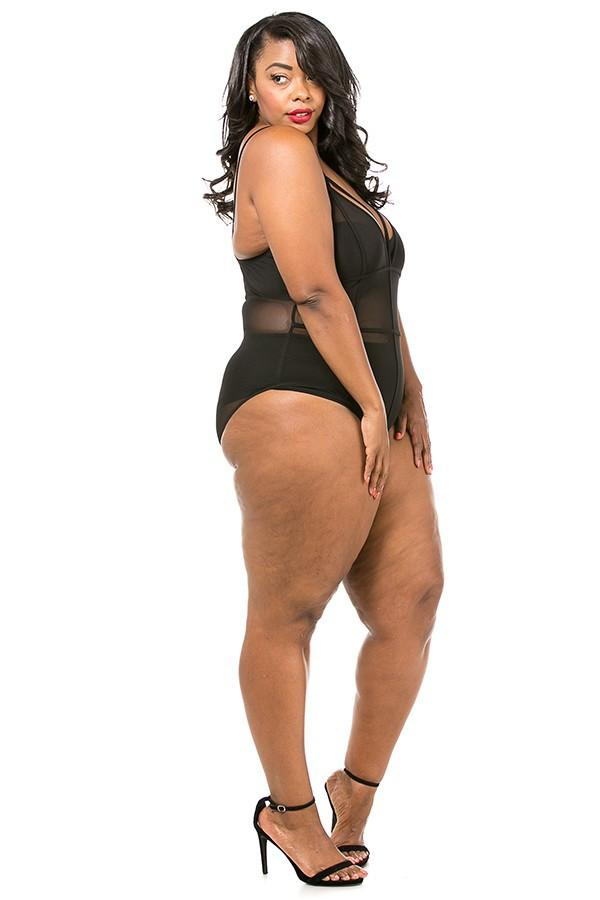 Plus Size Piping Detailed Mesh Bodysuit - Black