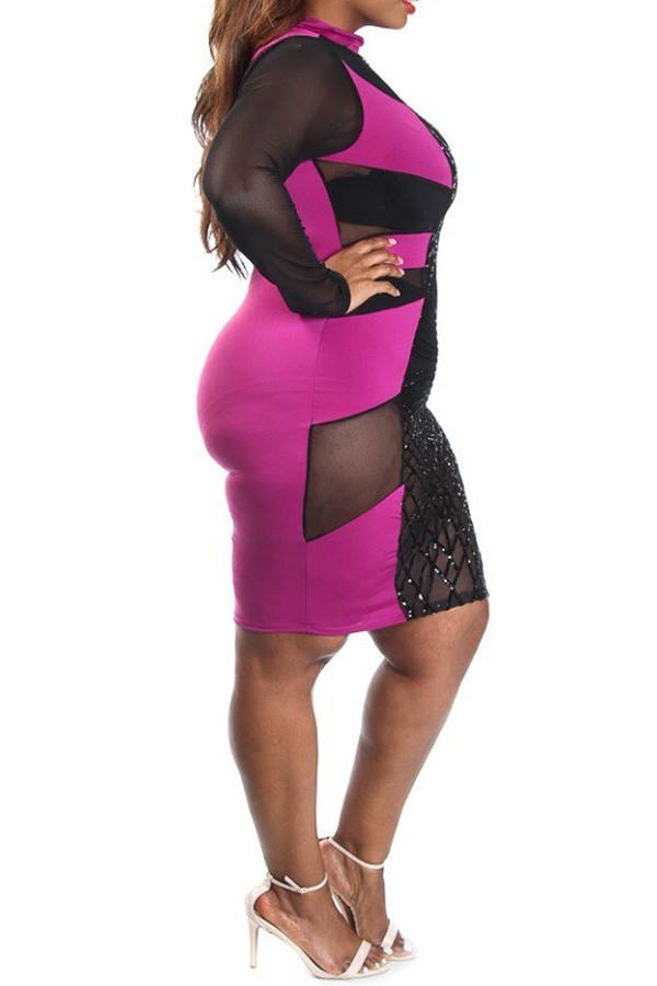 Plus Size Girls Night Club Sequin Panel Tube Dress