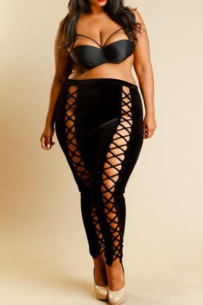 Plus Size Hot Criss Cross Velvet Pants