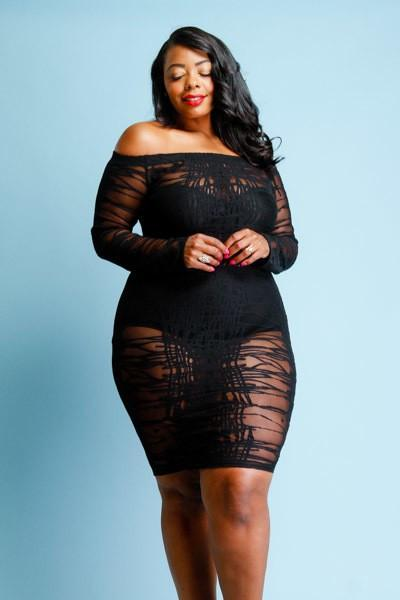 e54376174df Plus Size See Through Off Shoulder Hot Mesh Tube Dress