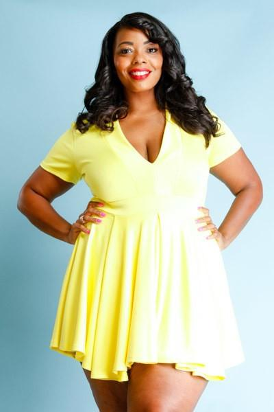 Plus Size Cap Sleeve V-Neck Flare Dress [SALE]