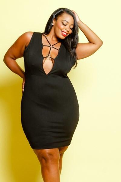 Plus Size Hot Solid Caged Front Bodycon Dress