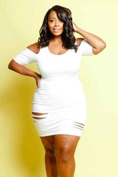 85266a95e38 Plus Size Summer Vibes Sliced Cut Out Solid Dress