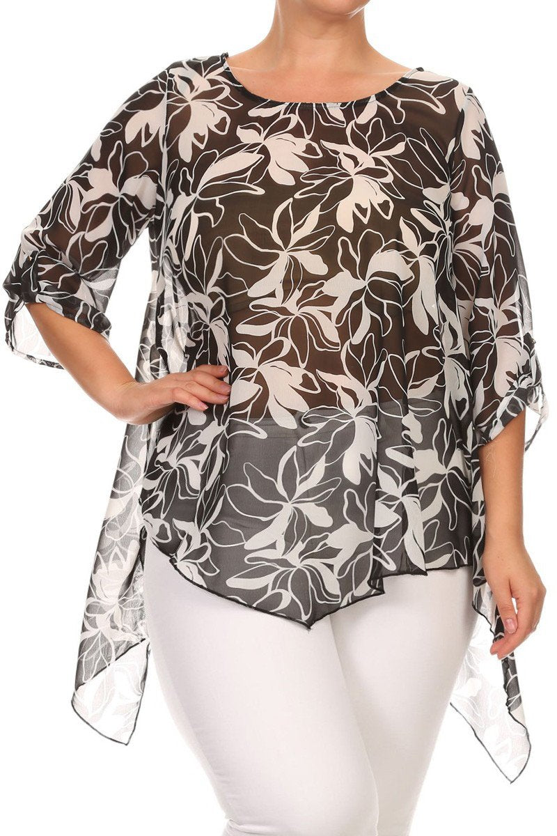 See Through Leaf Print Plus Size  Top