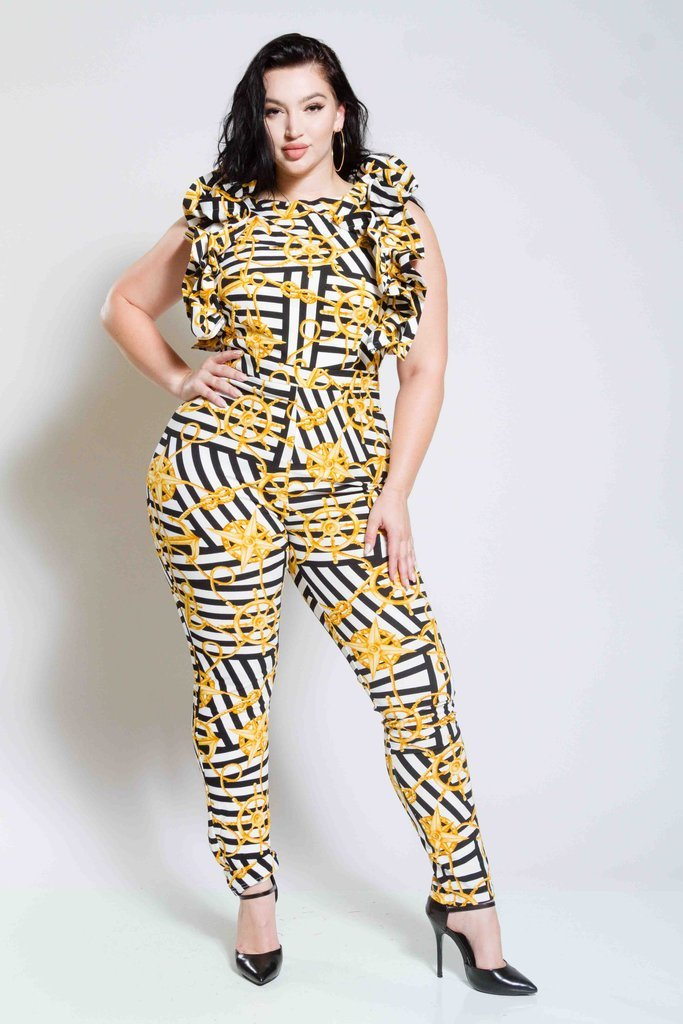 Plus Size Sailor Jumpsuit with Glam Ruffles