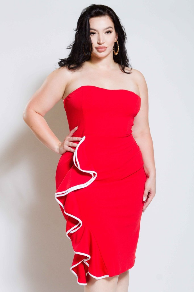 Plus Size Tube Dress with Cascade Glam Ruffle