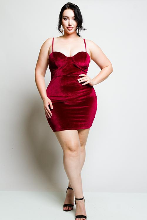 Plus Size Bustier Soft Velvet Dress [SALE]