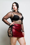 Plus Size Sexy Lace Up Leather Skirt