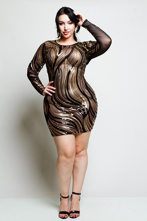 bd2a6d32a7d Plus Size Sparkling Sequin See Through Mesh Dress – slayboo