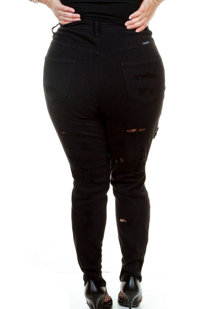 Plus Size High Waist Destroyed Skinny Jeans