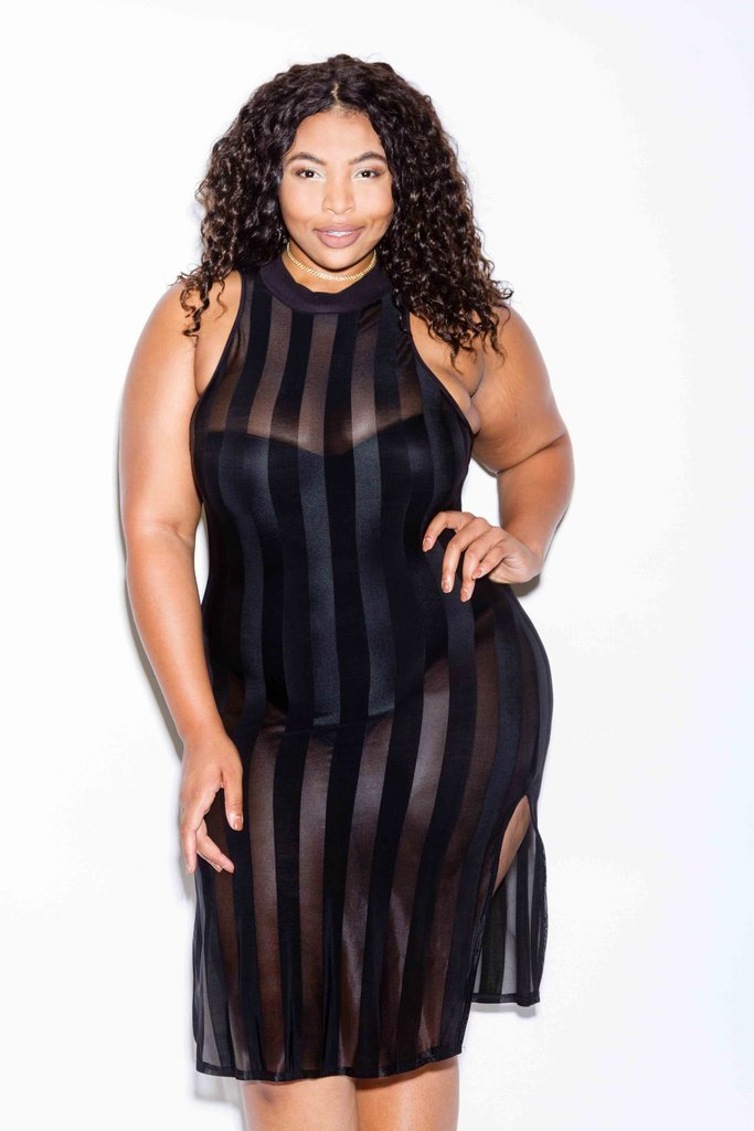 Plus Size Double Slit See Through Mesh Dress [SALE]