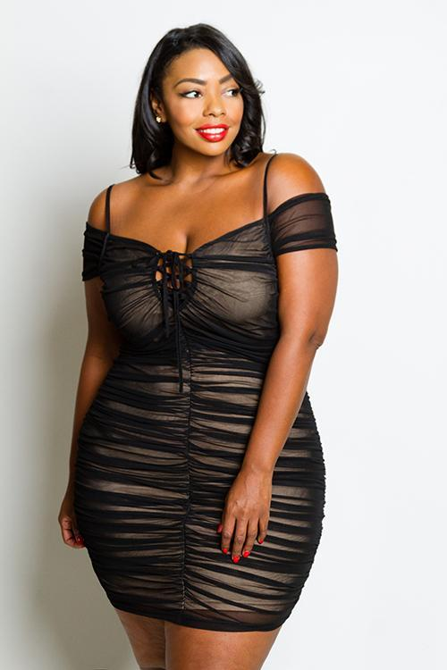Plus Size Sexy Off Shoulder Ruched See Through Mesh Dress Slayboo