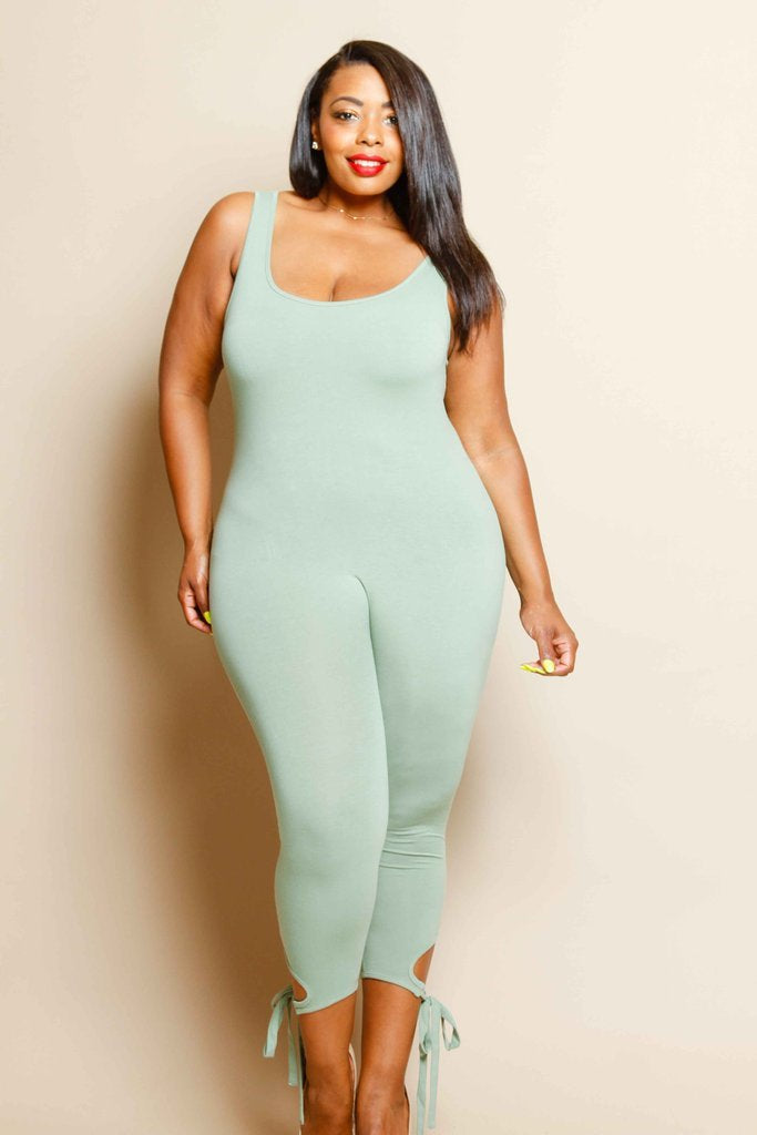 Plus Size Calf Tie Detail Jumpsuit