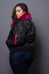 Plus Size Trendy Camo Bomber Jacket with Fur
