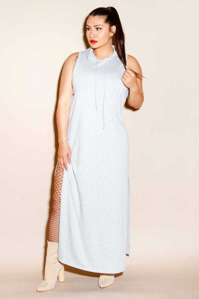 Plus Size Terry Maxi Dress with Sliced Back
