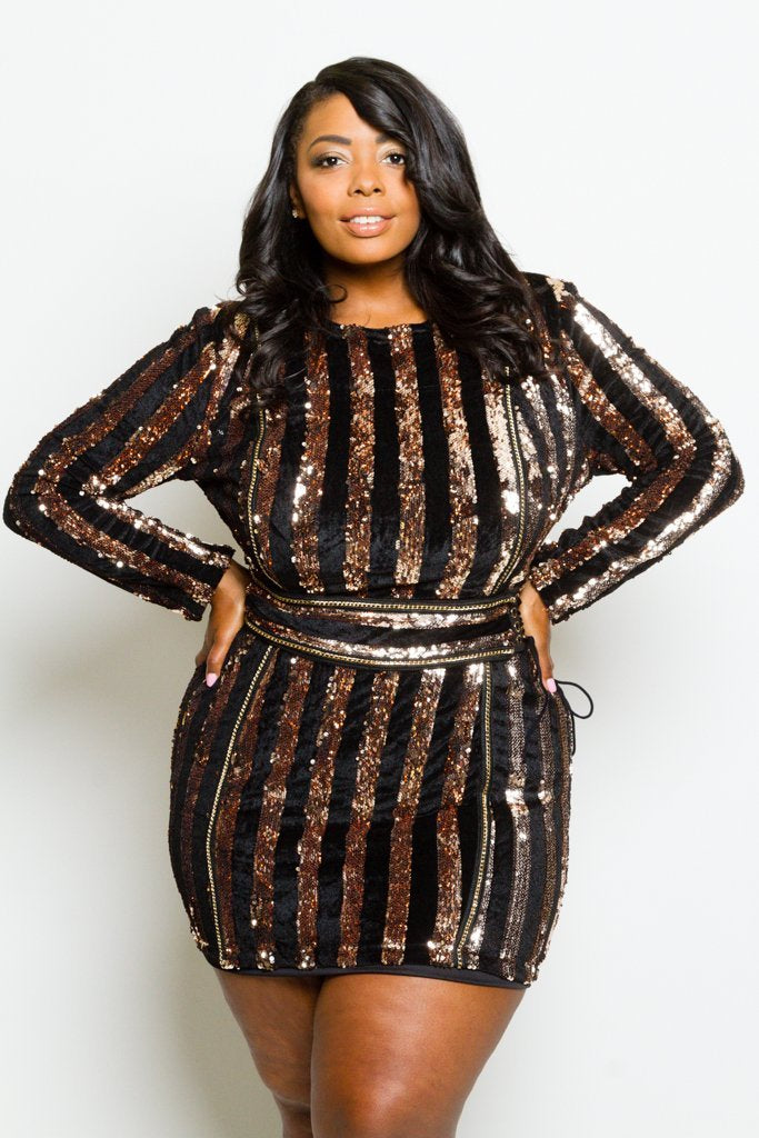 4cbae02a9d8 Plus Size Sparkling Sequin and Soft Velvet Striped Mini Dress – slayboo