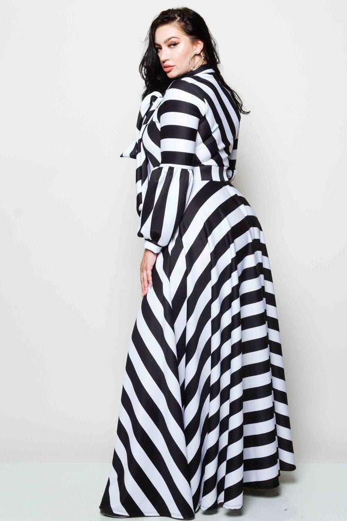 Plus Size Striped Bow Maxi Dress – slayboo