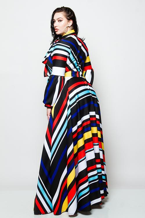 Plus Size Striped Maxi Dress with Bow