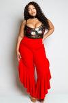 Plus Size Palazzo Pants with Glam Ruffle