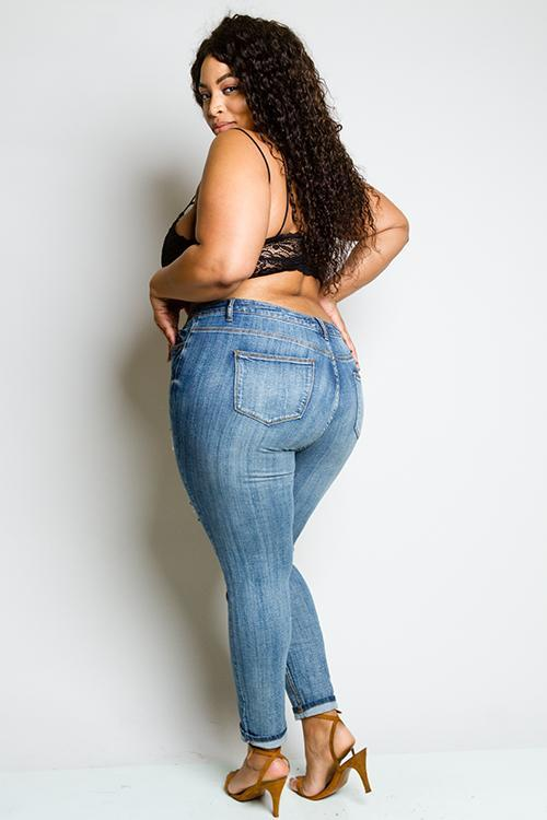 Plus Size Trendy Distressed Skinny Denim Jeans [SALE]
