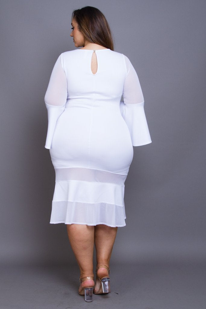 Plus Size Bell Sleeve Midi Dress [SALE]