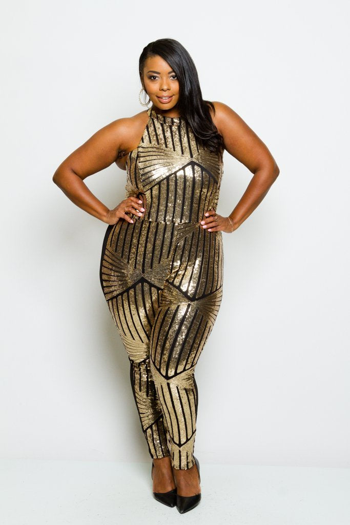 d166f57d70e Plus Size Racer-back Sparkling Sequin Jumpsuit – slayboo
