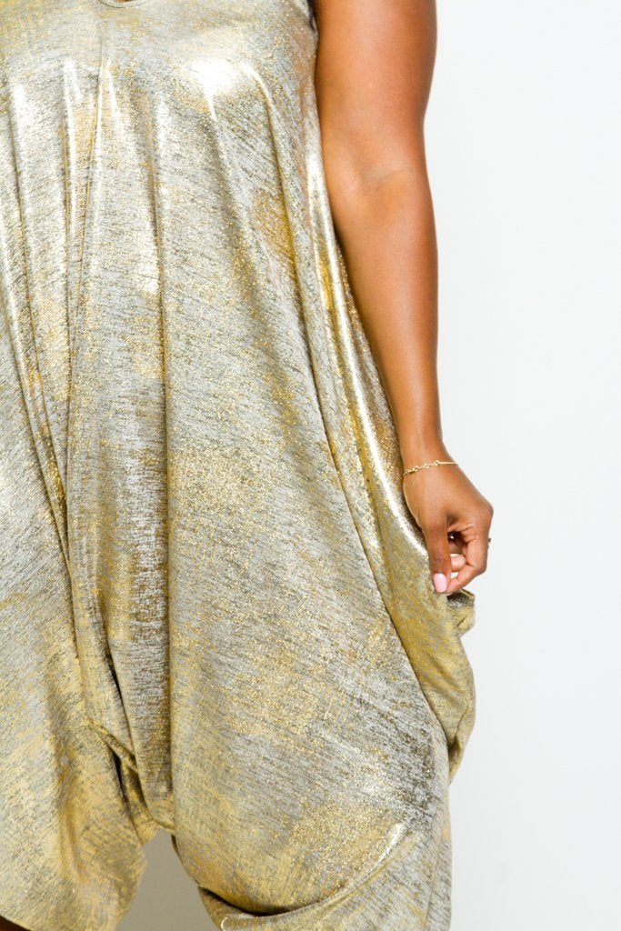 Plus Size Shining Metallic Harem Romper [SALE]