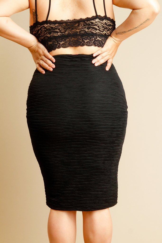 Plus Size Ribbed Pencil Skirt