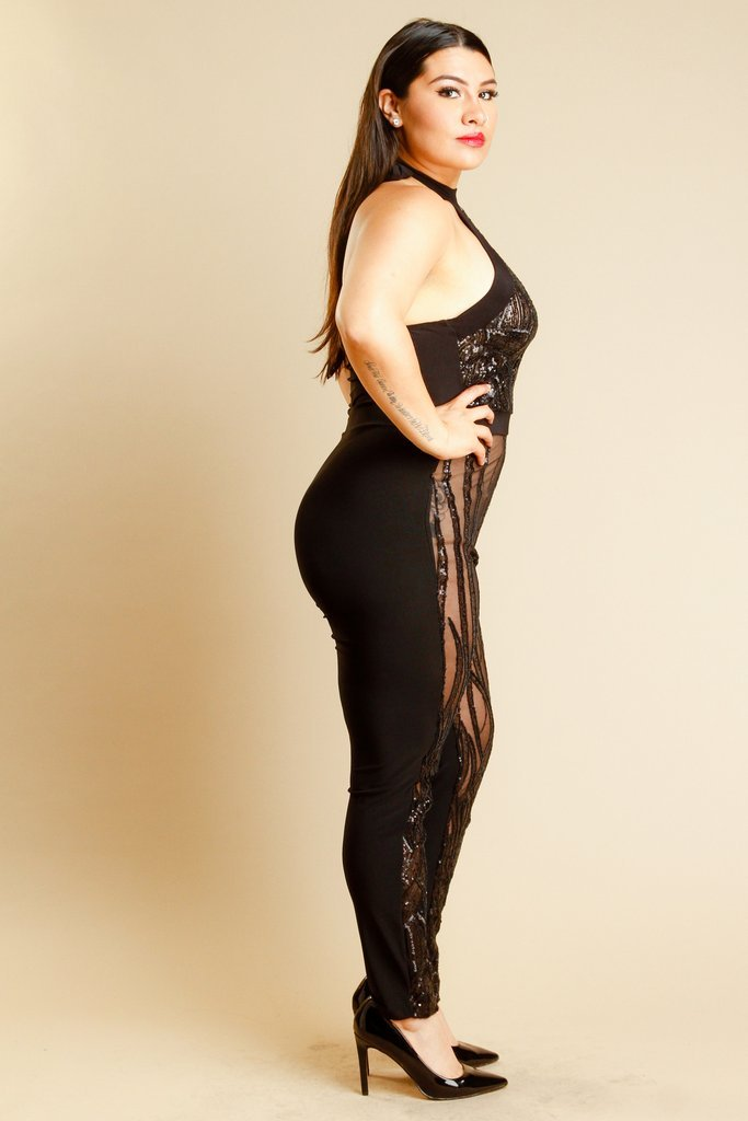 Plus Size Sexy In Sparkling Sequin See Through Mesh Halter Jumpsuit