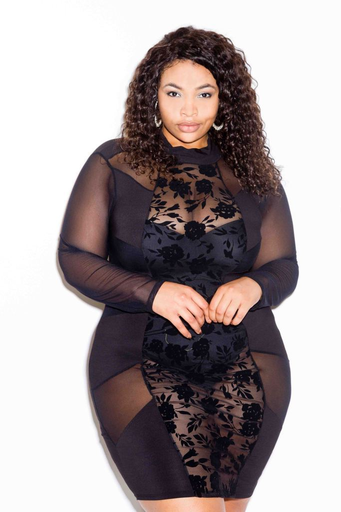 Plus Size Gorgeous Floral See Through Mesh Sexy Bodycon Dress – slayboo d5be39839