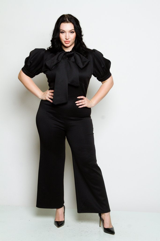 Plus Size Wide-leg Jumpsuit with Bow