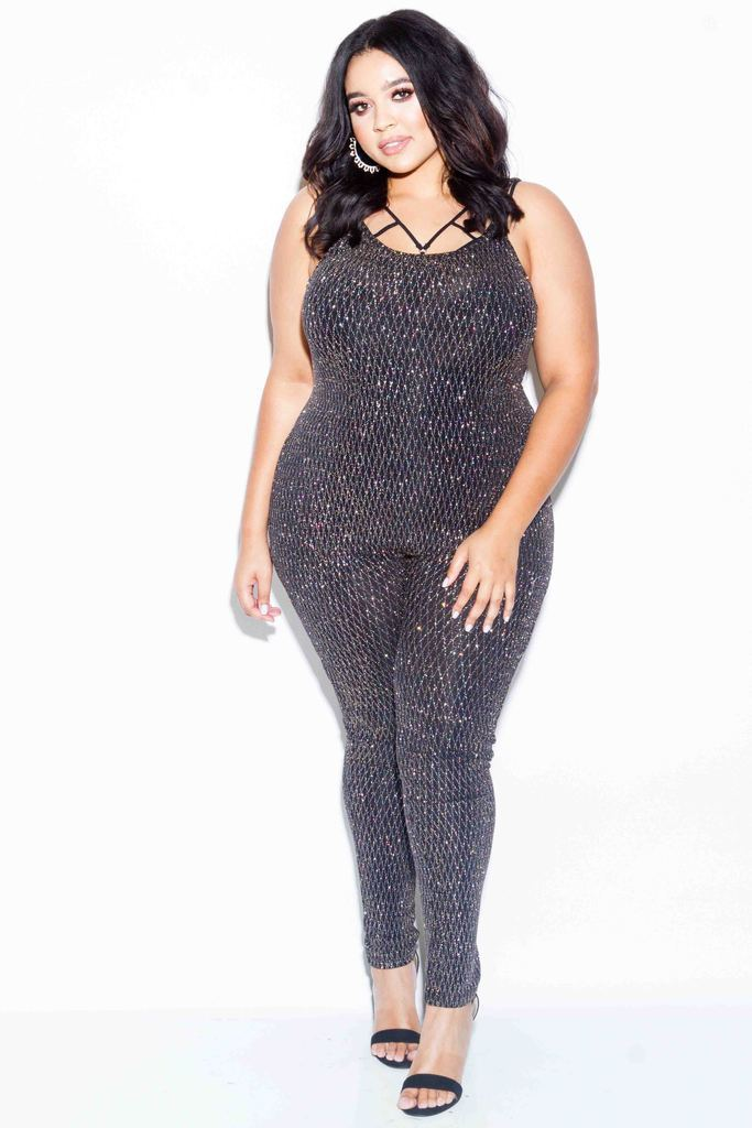 Plus Size Sparkling Shimmer Catty Jumpsuit