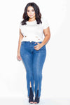 Plus Size Zipper Slit Skinny Denim Jeans